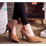 รองเท้าคัทชู เปิดส้น ส้นสูง เรียบหรู ทรงหัวแหลม บุซาตินมันสวยดูดี หน้าตัด v ดูเท้าเรียว ทรงสวย ส้นสูง ประมาณ 3.5 นิ้ว แมทสวยได้ทุกชุด (FT-319)