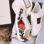 รองเท้าผ้าใบแฟชั่น สไตล์ Gucci Ace embroidered low-top sneaker เหมือนเป๊ะทุกจุด เหล่าดาราเซเลปนอกใส่เพียบ แบบสวย งานเป๊ะ แล้วเทรนฝุดๆ (GU4556)