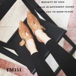 รองเท้าคัทชู ส้นเตี้ย ทรงหัวแหลม ดีไซน์สวยเก๋ korea style สวยเก๋ หนัง สักหลาดนิ่ม ผ่าหน้าแต่งสายเข็มขัดปรับระดับได้ สูง 1 นิ้ว mix & match ได้ทุก สไตล์ สีดำ น้ำตาล (TM151)