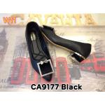 รองเท้าคัทชู ส้นเตี้ย แต่งอะไหล่สวยหรู ส้นเงาแต่งขอบทองดูดี หนังนิ่มใส่สบาย ส้นสูงประมาณ 1.5 นิ้ว ทรงสวย แมทสวยได้ทุกชุด (CA9177)