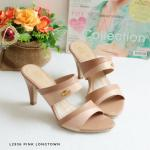 รองเท้าแฟชั่น ส้นสูง แบบสวม แต่งหนังกลิสเตอร์สีทูโทนสวยเก๋ ใส่ง่าย ส้นสูงประมาณ 3 นิ้ว ใส่สบาย แมทสวยได้ทุกชุด (L2937)