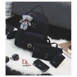 กระเป๋าเป้ ชุดเซ็ต 4 ใบ สวยเท่ห์สุดคุ้ม สะพายหลัง งานนำเข้า วัสดุหนัง PU อย่างดี ดีไซน์เรียบเก๋ ใช้ได้ตลอด ทุกโอกาส ในเซ็ตประกอบด้วยกระเป๋า 4 ใบ เป้ใบใหญ่ 1 ใบ พร้อมกับกระเป๋าสะพาย กระเป๋านามบัตร กระเป๋ากุญแจ น่ารัก เข้าชุด และพวงกุญแจหมีน้อยน่ารักมาก งาน