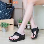 รองเท้าแฟชั่น ส้นเตารีด แบบสวมนิ้วโป้ง แต่งอะไหล่ LOVE สวยเก๋ ทรงสวย ใส่สบาย แมทสวยได้ทุกชุด (PU6053)