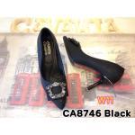 รองเท้าคัทชู ส้นสูง สวยหรู ทรงหัวแหลมแต่งเพชรหรูด้านหน้า ส้นแต่งขอบทอง สูง ประมาณ 3 นิ้ว แมทสวยได้ทุกชุด (CA8746)