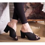 รองเท้าแฟชั่น ส้นตัด ทรงสวมเปิดนิ้ เก็บหน้าเท้าเรียว เรียบหรู ทรงใส่สบาย สวย Classic ส้นหนา เดินใส่สบายเท้า พื้นนิ่มอย่างดี แมทสวยได้ทุกชุด สีดำ ครีม สูง 2.5 นิ้ว (FT-276)