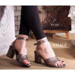 รองเท้าแฟชั่น แบบสวม รัดข้อ ทรง Classic สวยดูดี ดีไซน์ไขว้รัดข้อเท้า สายรัดแบบเกี่ยว ปรับกระชับเท้าได้ วัสดุหนั Black Grey Cream (FT-350)