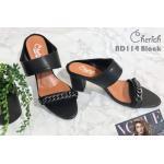 รองเท้าแฟชั่น ส้นสูง แบบสวม แต่งโซ่ด้านหน้าสวยเรียบเก๋สไตล์แบรนด์ ทรงสวย ส้นสูงประมาณ 3 นิ้ว แมทสวยได้ทุกชุด (ND114)