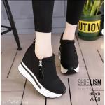 รองเท้าผ้าใบแฟชั่น เสริมส้น แต่งซิปข้างและแถบด้านหลังสวยเก๋สไตล์เกาหลี ทรงสวย ใส่สบาย สวยเพรียวด้วยส้นสูง 4 นิ้ว แมทสวยได้ทุกชุด (A-08)