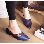 รองเท้าคัทชู เปิดส้น แต่งแถบสี อะไหล่สไตล์กุชชี่สวยเก๋ หนังนิ่ม ใส่สบาย ทรงสวย แมทสวยได้ทุกชุด