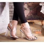 รองเท้าแฟชั่น แบบสวม รัดส้น ดีไซน์พลาสติกใส่นิ่มหุ้นหน้าเท้าตัดสายหนังเมทัลลิคเงาสวยเก๋ ส้นใสอินเทรนด์ ทรงสวยเก็บหน้าเท้า ส้นสูงประมาณ 4.5 นิ้ว แมทสวยได้ทุกชุด