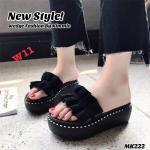 รองเท้าแฟชั่น แบบสวม ส้นมัฟฟิน แต่งโบว์ระบายสวยเก๋น่ารัก สไตล์เกาหลี หนังนิ่ม ทรงสวย ใส่สบาย แมทสวยได้ทุกชุด (MK222)