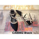 รองเท้าคัทชู ส้นแบน รัดข้อ สวยหรู สายไขว้หน้าแต่งหมุดสไตล์วาเลนติโน ทรงสวย ใส่สบาย แมทชุดเก๋ได้ทุกวัน (CA8882)