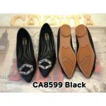 รองเท้าคัทชู ส้นเตี้ย สวยหรู ทรงหัวแหลม แต่งอะไหล่เพชรด้านหน้า พื้นบุนิ่ม พื้นยาง อย่างดี ใส่สบาย แมทสวยได้ทุกชุด (CA8599)