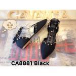 รองเท้าคัทชู ส้นแบน รัดข้อ แต่งหมุดทองสไตล์วาเลนติโนสวยเก๋ หนังนิ่มอย่างดี ทรงสวย ใส่สบาย แมทสวยได้ทุกชุด (CA8881)