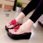 รองเท้าแฟชั่น ส้นมัฟฟิน แบบหนีบ แต่งดอกไม้ปักด้านหน้าสวยหวาน เก๋ไม่เหมือนใคร น้ำหนักเบา ใส่สบาย แมทสวยได้ทุกชุด (M1806)