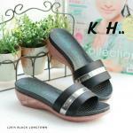 รองเท้าแฟชั่น ส้นเตารีด แบบสวมแต่งแถบทองสวยเรียบหรู พื้นนิ่ม ใส่สบาย แมทสวยได้ ทุกชุด (L2914)