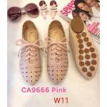 รองเท้าผ้าใบแฟชั่น แต่งฉลุลายสวยหวานสไตล์วินเทจ ผูกเชือกหน้า ทรงสวย หนังนิ่ม ใส่สบาย แมทสวยได้ทุกชุด (CA9666)