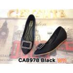 รองเท้าคัทชู ส้นเตารีด แต่งอะไหล่เพขรสวยหรู หนังนิ่ม ใส่สบาย ทรงสวย แมทสวยได้ทุกชุด (CA8978)
