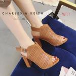 รองเท้าแฟชั่น ส้นสูง รัดส้น ดีไซน์หุ้มหน้าเท้าเปิดนิ้ว แต่งลายฉลุสวยเก๋ สไตล์ charles & keith หนังนิ่ม ทรงสวย สูงประมาณ 4 นิ้ว ใส่สบาย แมทสวยได้ทุกชุด (C33-3)