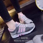 รองเท้าผ้าใบ แนว SPORT งานนำเข้า แต่งลายสวยเท่ห์ ใส่ออกกำลังกายได้ หรือจะใส่เที่ยวก็เก๋สุดๆ ใส่นุ่มสบายเท้า พื้นหนา 1 นิ้ว สีดำ เทา (A0019)
