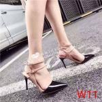 รองเท้าคัทชู ส้นสูง รัดข้อ หนังเงาตัดสี สายรัดข้อ 2 เส้น สวยเปรี้ยวเก๋ ส้นสูงประมาณ 4 นิ้ว ใส่สบาย แมทสวยได้ทุกชุด
