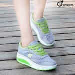 รองเท้าผ้าใบแฟชั่น เสริมส้น สวยเก๋ ผ้าใบตาข่ายและ PU งานนำเข้า สไตล์เกาหลี งานตัว รองเท้าหนา แข็งแรงใส่กระชับมาก แมทเก๋ได้ทุกชุด สีเทา (SZ399078)