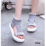 รองเท้าหุ้มข้อ งานนำเข้า สุดชิค สไตล์เกาหลี หุ้มข้อไหมพรมถัก เหมือนใส่ถุงเท้า นิ่มใส่ง่าย พื้นหนา 2 นิ้ว ส้นพียู น้ำหนักเบา งานสวยเหมือนรูปเป๊ะ! สวยคเก๋ไม่ซ้ำใคร