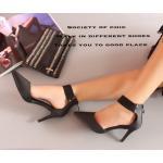 รองเท้าคัทชู ส้นสูง ดีไซน์สวยเปรี้ยว หนังนิ่ม สายรัดข้อยางยืด ซิปหลัง ใส่ง่าย สูง 3 นิ้ว สวยเก๋ สไตล์สาวมั่น แมทสวยได้ทุกชุด สีดำ (A316-81)