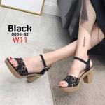 รองเท้าแฟชั่น ส้นสูง แบบสวม รัดส้น หนังฉลุลายดอกไม้แต่งคลิสตัลสวยหรู ส้นแต่งขอบทอง ทรงสวย หนังนิ่ม ส้นสูงประมาณ 3 นิ้ว ใส่สบาย แมทสวยได้ทุกชุด (8806-82)