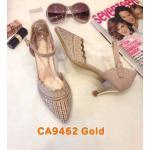รองเท้าคัทชู ส้นเตี้ย รัดส้น หนังกลิสเตอร์วิ้งแต่งคลิสตัวสวยหรู ทรงสวย ส้นสูงประมาณ 2 นิ้ว ใส่สบาย แมทสวยได้ทุกชุด (CA9462)