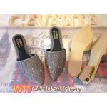 รองเท้าคัทชู เปิดส้น สวยหรู แต่งคลิสตัลด้านหน้า ทรงสวยเก็บหน้าเท้า ใส่สบาย แมทสวยได้ทุกชุด (CA9054)