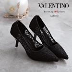 รองเท้าคัทชู ส้นสูง สไตล์ VALENTINO หรูหรา คลาสสิค ผ้าลูกไม้อย่างดี รุ่นนี้พิเศษพื้นบุนวมนิ่มอย่างดี ใส่แล้วนุ่มเท้ามาก ทรงสวย ดูหรูดูแพง ใส่ได้ เรื่อยๆ สูง 3 นิ้ว แมทชุดไหนก็อัฟลุคแอบเซ็กซี่ ไฮโซ (A1277)