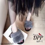 รองเท้าแฟชั่น ส้นมัฟฟิน หน้าสวม ตกแต่งขนเฟอร์ฟูนุ่มสวยน่ารัก พื้นหนา เสริมส้นสูง 2 นิ้ว พื้นยางอย่างดี ใส่แล้วนิ่มเท้าเวลาเดิน ใส่สบายสุดๆ สีดำ เทา