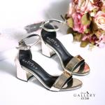 รองเท้าแฟชั่น ส้นสูง แบบสวม รัดข้อสวยเรียบหรู หนังเงาเมทัลลิคสวยมีสไตล์ ทรงสวย โชว์เท้า แบบ hot hit ส้นตัดสูงประมาณ 2 นิ้ว ใส่สบาย แมทสวยได้ทุกชุด (G1240)
