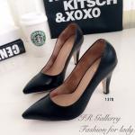 รองเท้าคัทชู ส้นสูง เรียบหรู หนังพียู ทรงหัวแหลม ทรงสวยเรียว แบบเรียบ คลาสสิค ใส่แล้วดูสุภาพ แมทสวยทุกชุด สูง 3.5 นิ้ว สีดำ (1370)