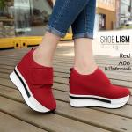 รองเท้าผ้าใบแฟชั่น เสริมส้น สวยเรียบเก๋สไตล์เกาหลี หนัง PU ญี่ปุ่น เช็ดทำความสะอาดได้ ติดเมจิกเทปติดเมจิกเทปใส่ง่าย ทรงสวย น้ำหนักเบา ใส่สบาย สวยเพรียวด้วยส้นสูง 4 นิ้ว แมทสวยได้ทุกชุด (A06)