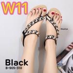 รองเท้าแฟชั่น ส้นเตารีด แบบสวมนิ้วโป้ง รัดส้น คาดหน้าเฉียงแต่งอะไหล่สวยหรูน่ารัก พื้น นิ่ม รัดส้นยางยืดนิ่ม กระชับเท้า ใส่ง่าย ใส่สบาย แมทสวยได้ทุกชุด (B-905-310)
