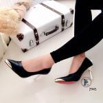 รองเท้าคัทชู ส้นสูง สวยหรู วัสดุหนังนิ่มเหลือบมุข คุณภาพดีด้านหน้าแต่งหุ้ม อะไหล่ทองหรูหรา ส้นโลหะทองสูง 3 นิ้ว ทรงสวยมากๆ ดีไซน์สวยเพื่อเท้าเรียว สวยโดดเด่น