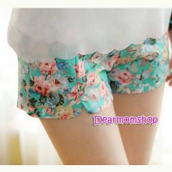 กางเกงคลุมท้องขาสั้นผ้ายืดได้ลายดอกกุหลาบโทนสีเขียว