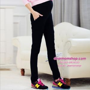 กางเกงคลุมท้องขายาวใส่ลำลองหรือทำงานทรงสกินนี่ สีดำ เนื้อผ้ายืดได้เยอะ