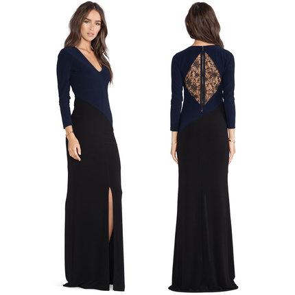 **พรีออเดอร์** ชุดเดรสผู้หญิงแฟชั่นยุโรปใหม่ แขนยาว ลูกไม้ แบบเก๋ เท่ห์ / **Preorder** New European Back diamond openwork lace design diagonal stitching Fashion Slim Sexy Dress