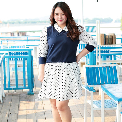 [พรีออเดอร์] เสื้้อเดรสแฟชั่นเกาหลีใหม่ แขนยาว ลายจุด สำหรับผู้หญิงไซส์ใหญ่ - [Preorder] New Korean Fashion Dress Polka Dot Long-Sleeve for Large Size Woman