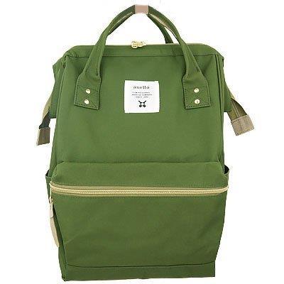 กระเป๋าเป้ Anello Canvas Khaki (Standard) ผ้าโพลีเอสเตอร์ กันน้ำ