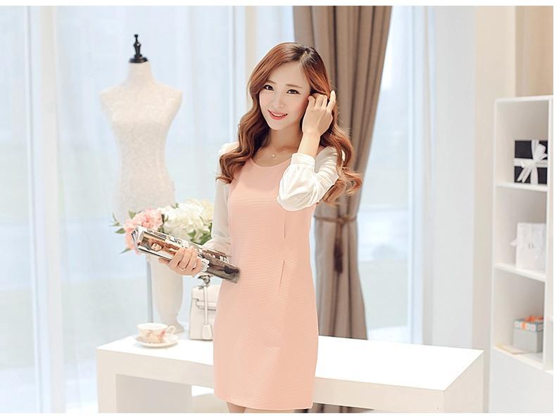 [พรีออเดอร์] ชุดเดรสผู้หญิงแฟชั่นเกาหลีใหม่ แขนยาว แบบเก๋ เท่ห์ - Preorde] New Korean Fashion Slim Long-sleeved Dress