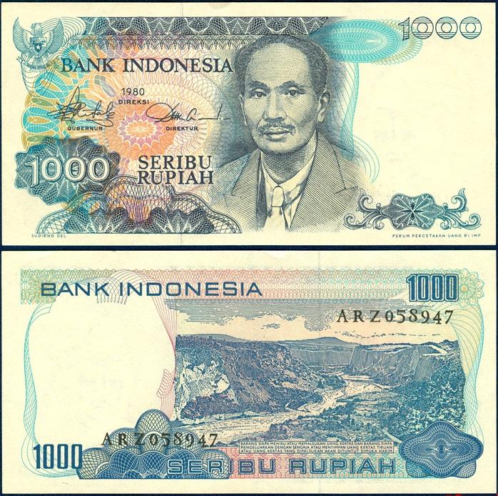 ธนบัตรประเทศ อินโดนีเซีย ชนิดราคา 1,000 RUPIAH (รูเปีย) รุ่นปี พ.ศ. 2523 หรือ ค.ศ. 1980