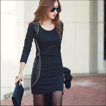 **พร้อมส่ง** ชุดเดรสแฟชั่นเกาหลี คอกลม แขนยาว สีดำ / **In Stock** Women Korean Hitz Slim Large Size Round Neck Long-sleeved Black Dress