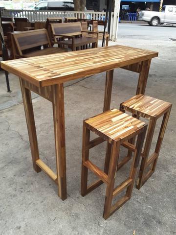 ชุดโต๊ะบาร์ไม้อะคาเซีย 2 ที่นั่ง