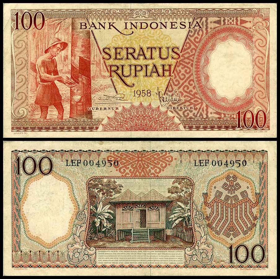 ธนบัตรประเทศ อินโดนีเซีย Indonesia 100 Rupiah 1958 (พ.ศ.2501) สภาพ UNC