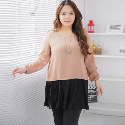 **พรีออเดอร์** เสื้้อเดรสแฟชั่นเกาหลีใหม่ แขนยาว สำหรับผู้หญิงไซส์ใหญ่ / **Preorder** New Korean Fashion Dress Long-Sleeve for Large Size Woman