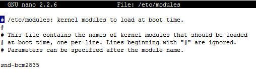 sudo nano /etc/modules